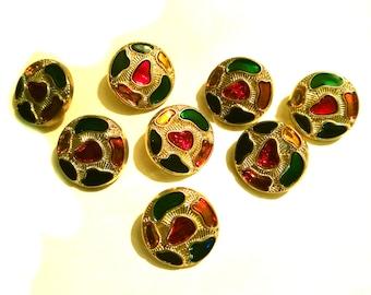 Vintage gold buttons . Vintage buttons. Set of 8 80s buttons . Gold tone buttons . Colourful jewel buttons . Vintage buttons . Retro buttons