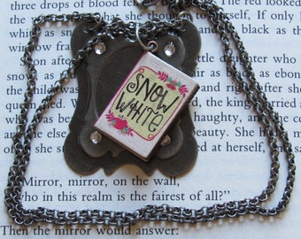 Snow White Book Necklace *magic mirror,reading,folklore,classic literature,fairy tale,bibliophiles,Brothers Grimm,unique gift,teen girls