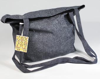 Handmade and silkscreened tote bag  / bag long handles