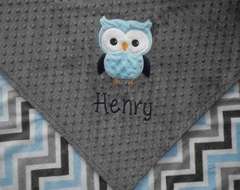 Custom Baby Blanket, Owl Baby Boy Blanket, Custom Blanket, Minky Baby Blanket, Made to Order