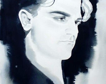 James Cagney Art Print of Original Watercolor Painting Portrait Black and white 1930s Film Noir Gangster Golden Era Hollywood