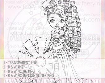 Steampunk Girl Cogs Curls UNCOLORED Digital Stamp Image Adult Coloring Page jpeg png jpg Fantasy Craft Fae Cardmaking Papercrafting DIY