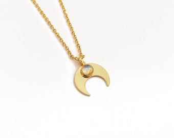 Moon Crescent Moon necklace brass gilded with gold 24 carat Moonstone rainbow moonstone