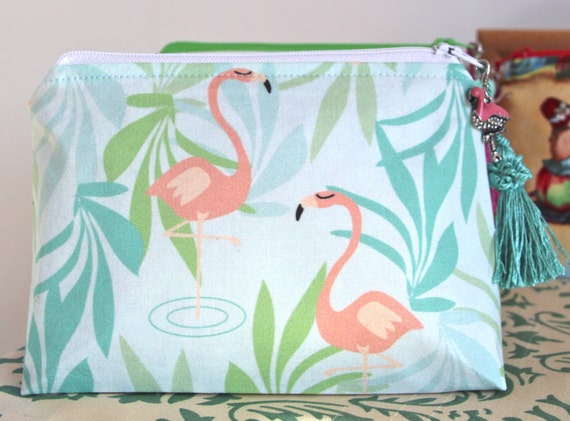 Flamingos Makeup Bag Cosmetic Pouch Teal and Coral