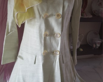 60s Twiggy Audrey style military coat light green