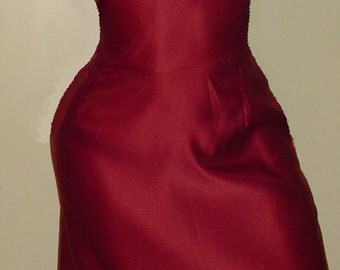 1950s style satin bow wiggle dress. made to measure from quality duchess satin fabrics