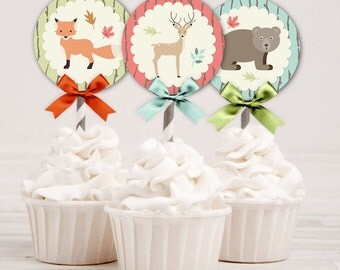 10 Designs Cupcake Topper 2 Inch Circles | Woodland Animals Owl Fox Deer Squirrel Hedgehog Bear | Digital Instant Download