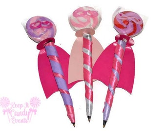 Pink and Purple Super Hero Lollipen, Super Hero Theme Candy Pen, Super Hero Favor, Super Hero Birthday, Lollipop Pen, Super Hero Wedding