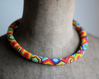Millefiori Necklace, Bead Crochet Necklace, Colorful Geometric Necklace, Ethnic Necklace, Ethnic Necklace
