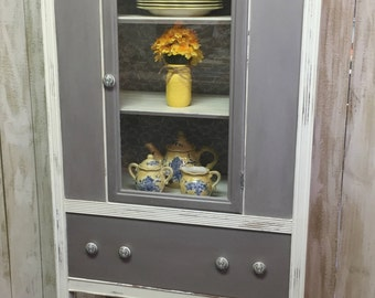 Vintage China Cabinet Painted Gray and White with Lace Backing
