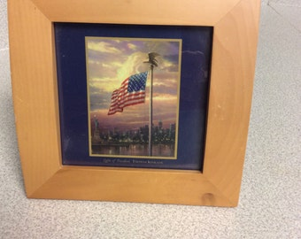 "Vintage  7"" Square  Hardwood Framed Thomas Kincade. print, ""Light of Freedom"" Made in Thailand"