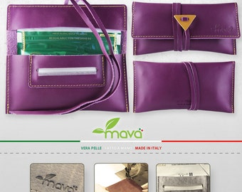 Leather tobacco pouch Purple Haze - Handmade & Made in Italy!