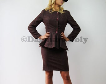 Women tailored suit, two piece women outfit, suit skirt, business suit, peplum tweed jacket, peplum suit, tweed suit, office wear