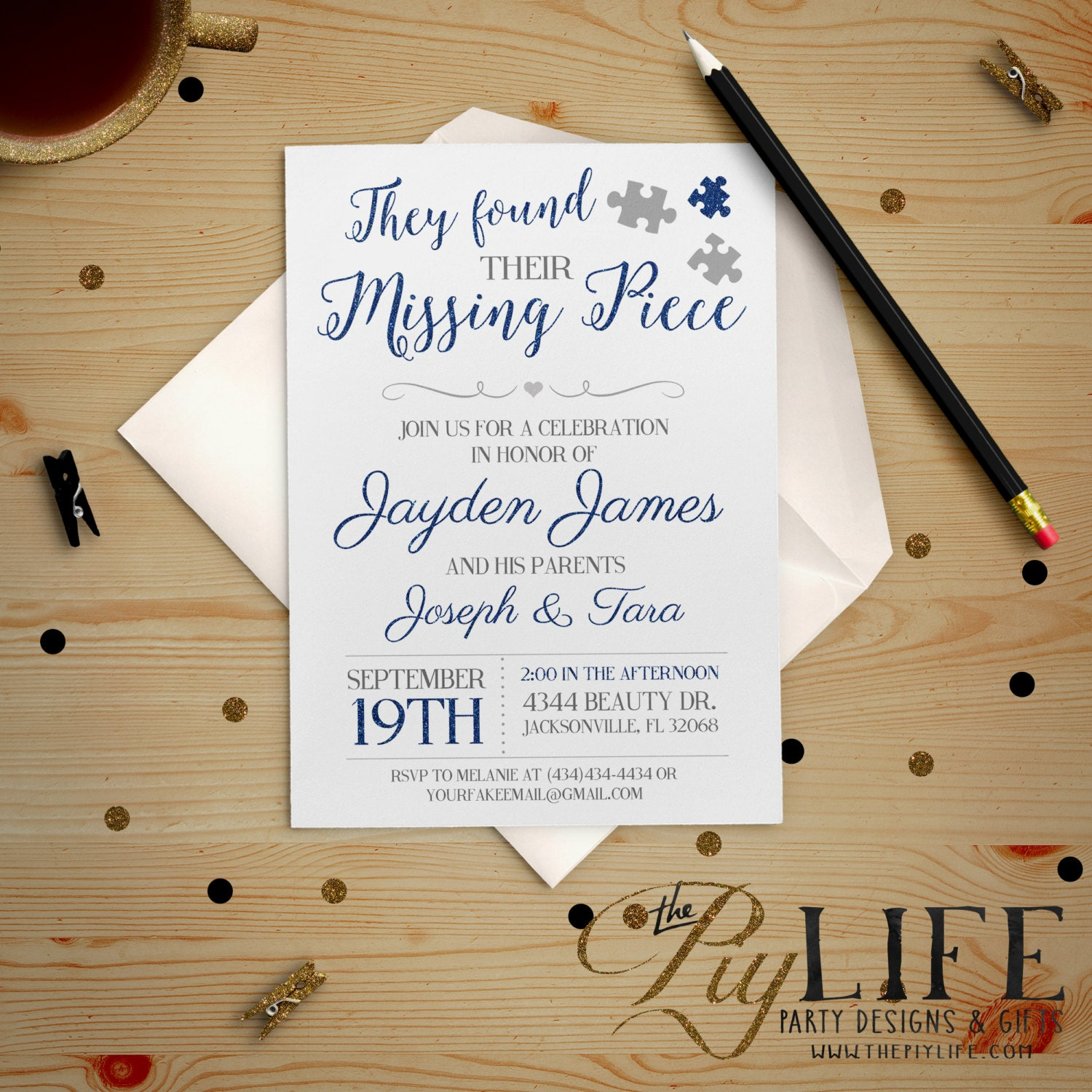 The missing piece tampa fl - Adoption Party Etsy Party Invitations