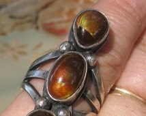 Incredible Massive Triple Fire Agate Navajo Ring, Vintage Unmarked, Size 8