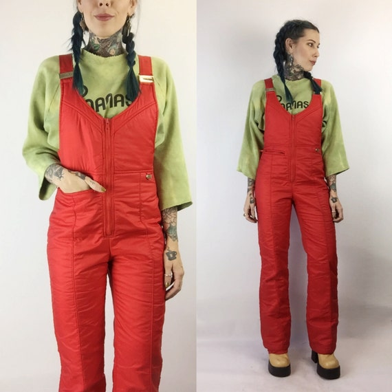 70u0026#39;s Red Overalls Ski Pants Snow Suit Women Small Red