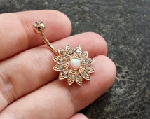 Opal Stone ROSE GOLD Plated Flower Lotus 14g (1.6mm) Navel Belly Ring Piercing Jewelry Accessory