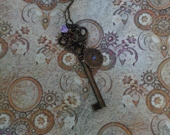 Eternal Love. Steampunk Key Necklace with Purple Rose & Timepeice. Purple Swarovski Crystal.
