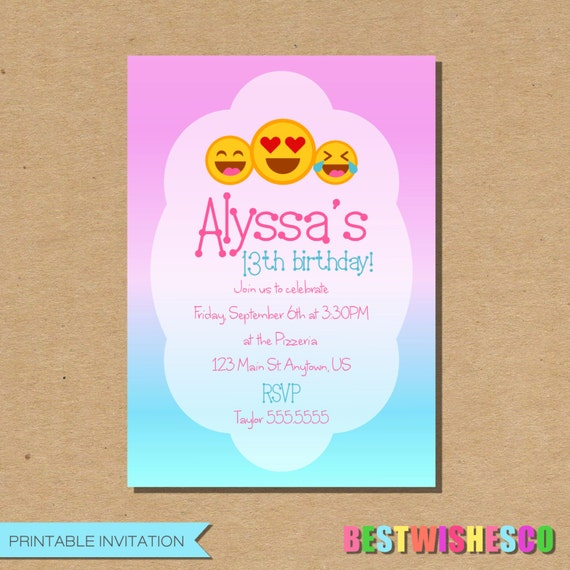 Emoji printable birthday invitations birthday wikii with this listing youll receive a printable invitation no physical item will be shipped after you place your order ill be sending you your files to filmwisefo
