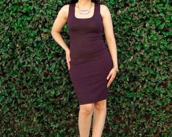 Womens Sleeveless Dress / Plus Size Pencil Dress /Tight Pencil Dress / Knee Length Dress / Square Neck Tank Dress / Petite & Tall Clothing