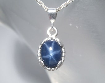 SAPPHIRE  - Genuine Blue Star Six-Ray Sapphire 925 Sterling Silver Necklace 2.07 carat, FREE SHIPPING!