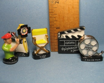 Art of CINEMA Movies Movie Making Cinematography Camera Lights Film ... - French Feve Feves Porcelain Doll House Miniatures EE74