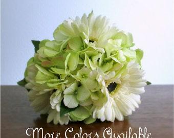 "Ivory Gerbera Daisy & Light Lime Green Hydrangea Bouquet, Silk Flowers, Pink, Peach, Orange, Red, Yellow, Blue, Purple, Gold, Brown, ""Joy"""
