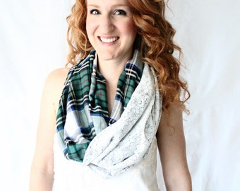 Green and Blue Tartan Plaid and lace infinity scarf, chunky cowl