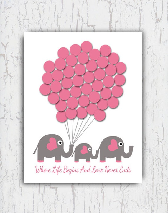 baby shower guest book sign in baby elephant guest book poster