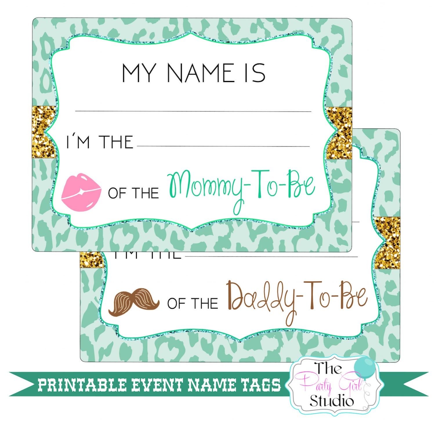 printable name tags event baby shower guest by thepartygirlstudio