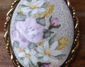 vintage floral hand painted china brooch