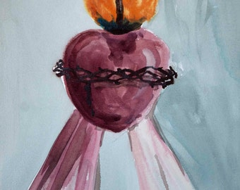 Sacred Heart of Jesus and Divine Mercy Watercolor Print, 8x10, 5x7, Wall Art
