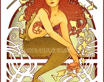 Art Nouveau Print of Mermaid