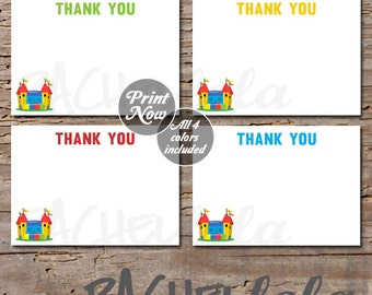 Bounce House Thank You notes,  4x6, or 5x7, instant download