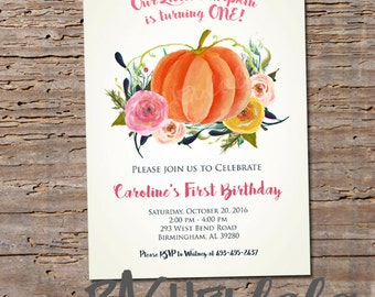 Our little pumpkin is turning one, invitation, printable, digital print, birthday, baby shower