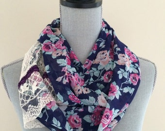 Purple Floral and Lace Infinity Scarf, Light Weight Scarf, Infinity Scarf, Spring Scarf