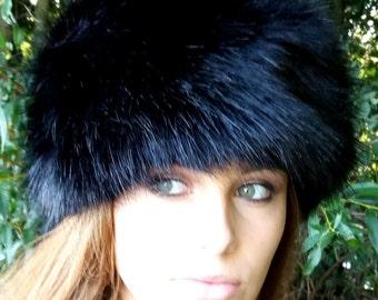 Lovely Long  Black Luxury Faux Fur Hat