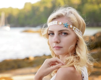 White Starfish Headband, Gold Mermaid Headband, Rhinestone Beach Headband, Rhinestone Connector, Forehead Headband,  Beach Baby, Adult