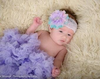 Princess Headband, Rhinestone Crown Headband, Aqua Pink Lavender, Pink Princess, Pastel Headband, Newborn Photo Prop, Baby Shower Gift