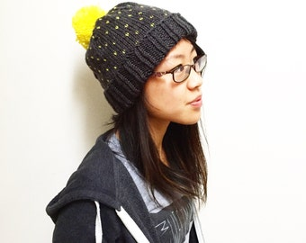 Dark Gray Knitted Beanie, Knitted Hat, Womens Hat, Knit Yellow Pom Pom Hat, Knit Hat, Knit Toque, Knit Slouchy Hat, Mothers Day Gift