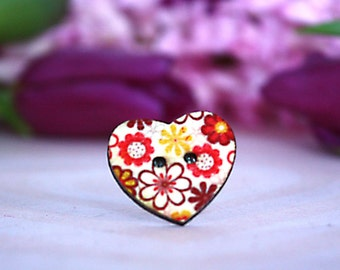 Orange and red wooden heart button ring