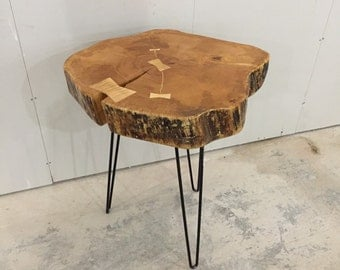 Maple end table, End Stand, Hairpin Table, Industrial Furniture