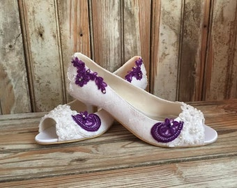 Plum and Ivory Lace Bridal Shoe Low Heel All Lace Bride Shoe Ivory and Purple Beaded Lace