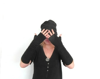 long black fingerless mittens, arm warmers, Handmade, polar fleece, made by Myyo, winter fashion, gift for her, made in France.