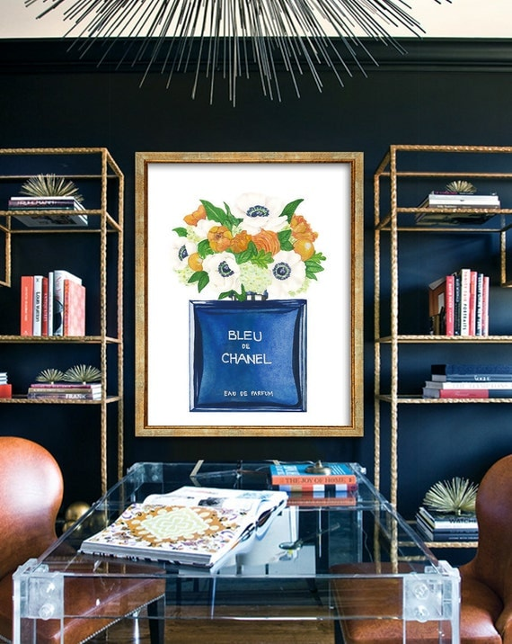 Chanel Perfume Poster PRINTABLE FILE - Chanel Bleu poster, Fashion art, Chanel perfume, fashion wall art, oversize art, chanel no5