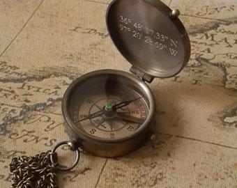 Compass, Engraved Compass, Personalized Compass, Working Compass, Valentines Day, Anniversary Gift, Fathers Day, Mothers Day, Groomsmen Gift