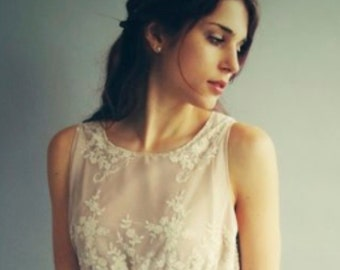 EVA - Guipiere lace and nude silk satin, bridesmaid dress, maid of honour, bridal gown, wedding dress - woodlands wedding