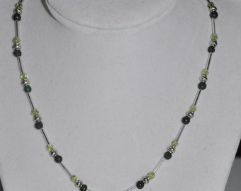 Claddaugh Necklace Green Adventurine Crystal Silver #792