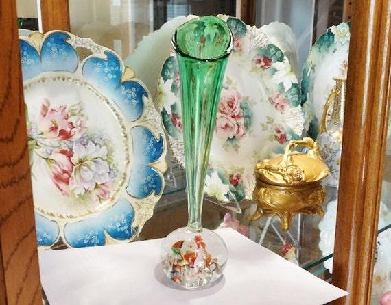Venetian Murano Paperweight  / Art Glass Bud Vase / Italian