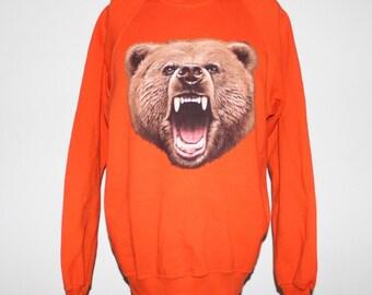 Vintage 1990's Grizzly Bear Crewneck Sweatshirt M